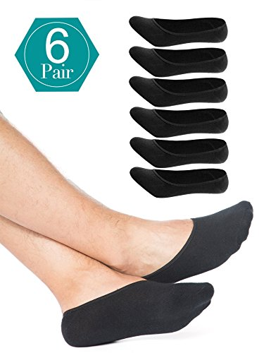 Mens No Show Socks 6 Pack Casual Low Cut Thin Loafers Non Slip Boat Liners Black by ADFOLF