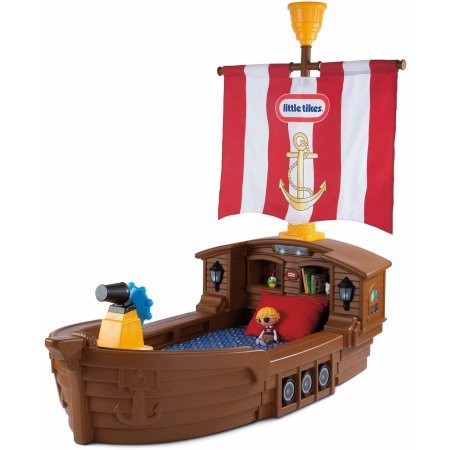 Pirates Toddler Bed Set (Little Tikes Pirate Ship Toddler Bed,Includes ship wheel, cannons, mast with fabric sail and crow's nest )
