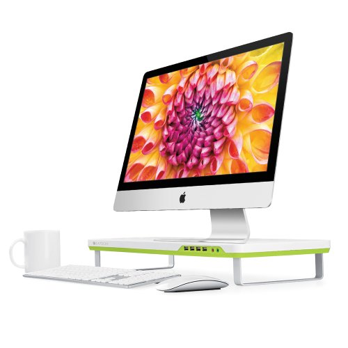 - Satechi F1 Smart Monitor Stand with 4 USB Ports and Headphone/Microphone Extension Ports - Compatible with 21.5-Inch iMac, MacBook Pro, MacBook, Dell, PC, Samsung and More (White)