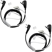 TENQ 2 Pin Two Way Radio Earpiece Acoustic Tube Headset for Kenwood HYT BAOFENG BF-UV5R 888S Retevis H-777 (2 Pack)