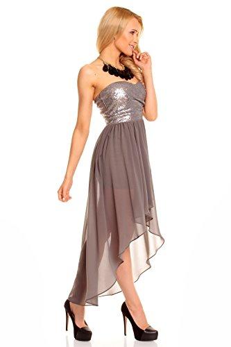 Chiffonkleid Pailletten Abendkleid Kleid Cocktailkleid Grau Mayaadi Ballkleid 40 Festkleid Bandeau XL Chiffon EwFOXq8