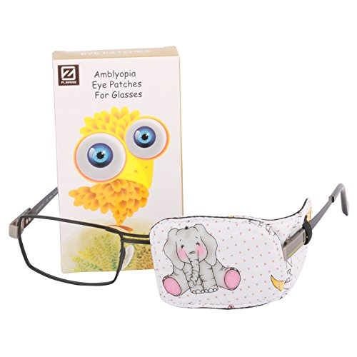 Plinrise Cartoon Pure Cotton Reusable Eye Patches - Amblyopia Eye Patches For Glasses, Strabismus, Lazy Eye Patch For Children,Vision Care Eye Mask (Elephant left) ()
