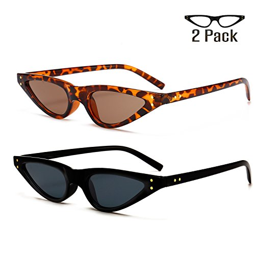 Bedis 2 Pack Cat Eye Sunglasses For Women Retro Small Designer Eyeglasses BD211 (Leopard brown + Black gray, - Eye Small Cat