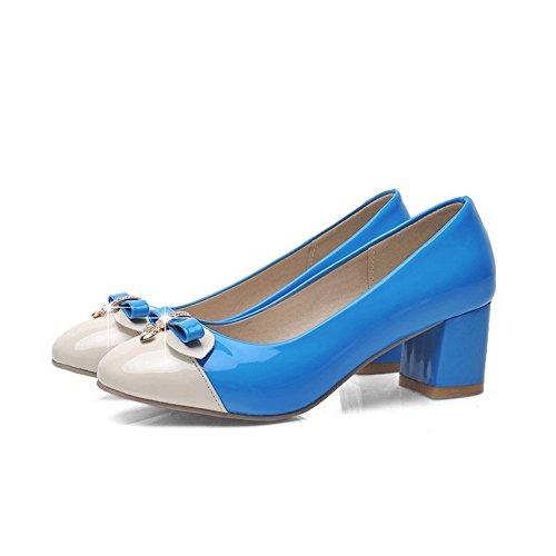 VogueZone009 Damen Lackleder Eingelegt Ziehen auf Quadratisch Zehe Pumps Schuhe Blau
