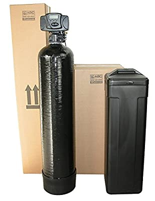 ABCwaters Built Fleck 5600sxt 48,000 Black SPACE SAVER Water Softener w/UPGRADED 10% Resin + Hardness test + Install Kit + Loop INSTALL Kit