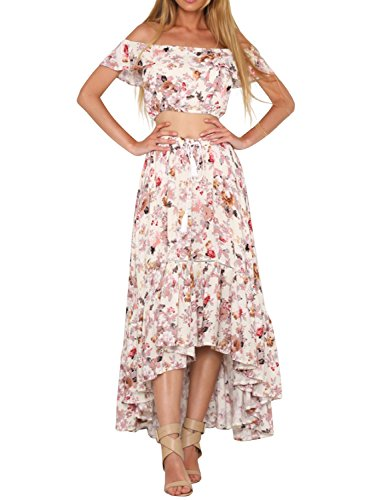 Simplee Apparel Women's Off Shoulder Crop Top Maxi Skirt 2 Piece Print Dress Two Piece Dress Skirt