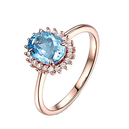 ANAZOZ Oval Cut 6X8MM Blue Topaz Ring Band S925 Sterling Silver Rose Gold Plated Anniversary Ring for Wife Size 10.5
