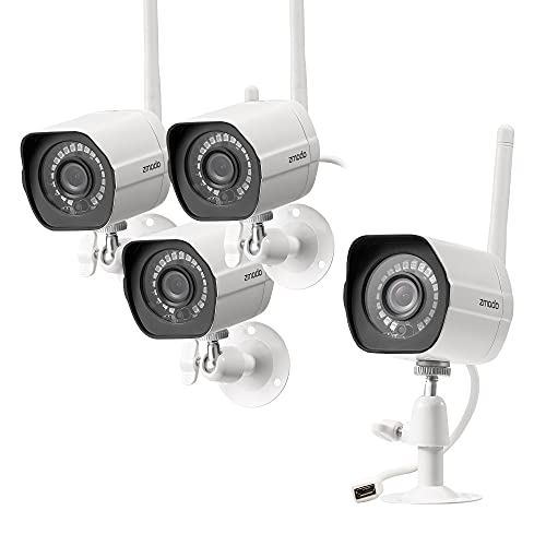 Zmodo Outdoor Security Camera (4 Pack), 1080p Full HD Wireless Cameras for Home Security with Night Vision, Cloud…
