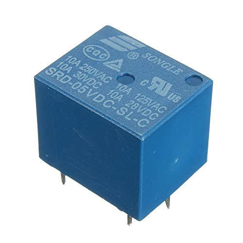 Utini 5Pcs Mini 5V DC Power Relay SRD-5VDC-SL-C 5 Pin PCB Type