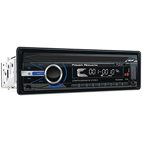 POWER ACOUSTIK PCD-41 in-Dash Single DIN CD MP3 AM FM Receiver with 32GB USB Input and Removable Faceplate