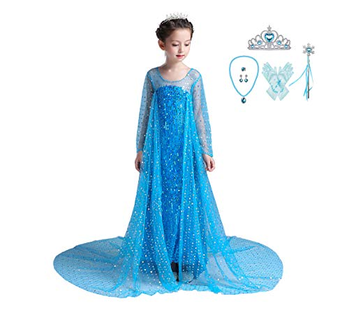 Lito Angels Girls' Princess Elsa Dress Up Costumes Halloween Party Dress Gown Sequined with Accessories Size 10/12 -