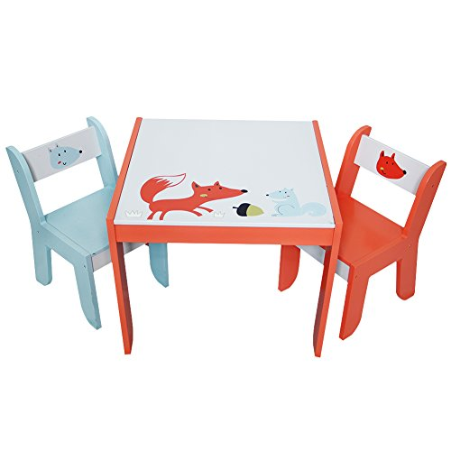 Childrens Kids Desk Tables Furniture (Labebe Wooden Activity Table Chair Set, Fox Printed White Toddler Table for 1-5 Years, Child Furniture/Baby Girl&Boy Furniture/Learning Table/Kid Table Cover/Kid Playroom Furniture/Kid Desk Chair)