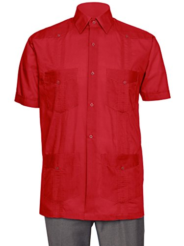 Gentlemens Collection Short Sleeve Guayabera Shirt - for Men Cuban Red Medium