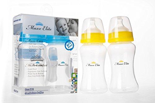 Maxx Elite GentleCare Bottles 8oz, 2 pack (Yellow)