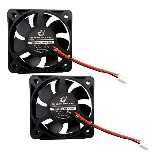FZVAN Fan 5010 50mm 12V 2Packs 50X50X10mm DC Radiator Axia Fan High Speec for CPU Heatsink 3D Printer
