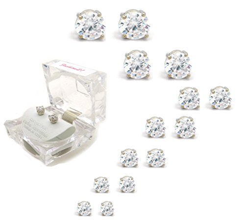 Silver, Gold Tone 4,5,6,7,8,9,10mm Clear Round Cubic Zirconia Magnetic Stud Earring (All Size Available)
