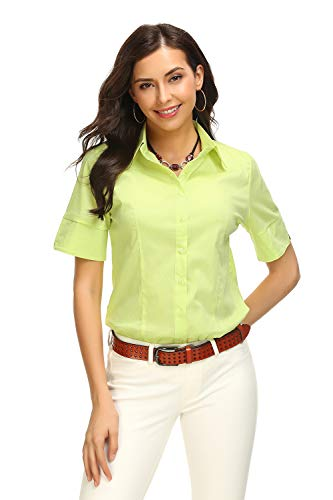 bce42e2e677e Mei teer Womens Basic Button Down Shirts Simple Short Sleeve Pullover  Stretch Formal Casual Shirt