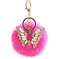 AutumnFall® Rabbit Fur Ball Rhinestone Butterfly Keychain Bag Plush Key Ring Car Key Pendant (Hot Pink)