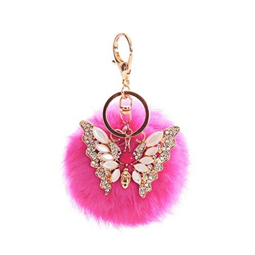 AutumnFall® Rabbit Fur Ball Rhinestone Butterfly