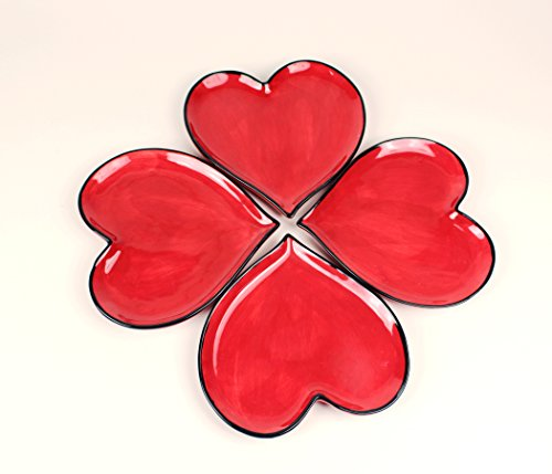 Happy Hearts Red Plates Set of 4 -