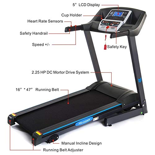 GYMAX Electric Folding Cardio Exercise Treadmill Fitness Jogging Running Machine Treadmill w/Manual Incline (Classic)