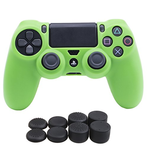 YoRHa Silicone Cover Skin Case for Sony PS4/slim/Pro Dualshock 4 controller x 1(green) With Pro thumb grips x 8 (Green Skin Cover)