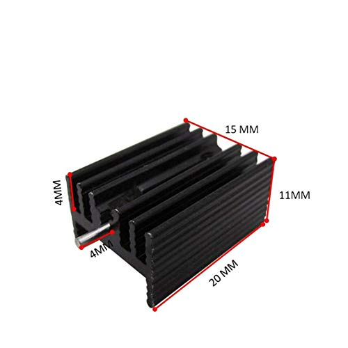 Easycargo TO-220 Heatsink + Insulator/Mounting kits (TO220 Heat sink +Screw+Washer+Bushing+Insulator rubberized Silicone) for LM78XX voltage regulator, MOSFET transistor 20mmx15mmx11mm (Black 20 pack) by Easycargo (Image #1)'