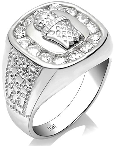 Men's Sterling Silver .925 Ring Featuring a Basketball and Hoop Surrounded by Fancy Channel-Set Cubic Zirconia (CZ) Stones, Platinum Plated Jewelry