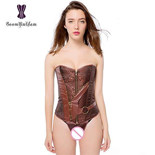 yaning Women's Jacquard Steampunk Corset Underwear Halloween Party Costume Large Size Brown -