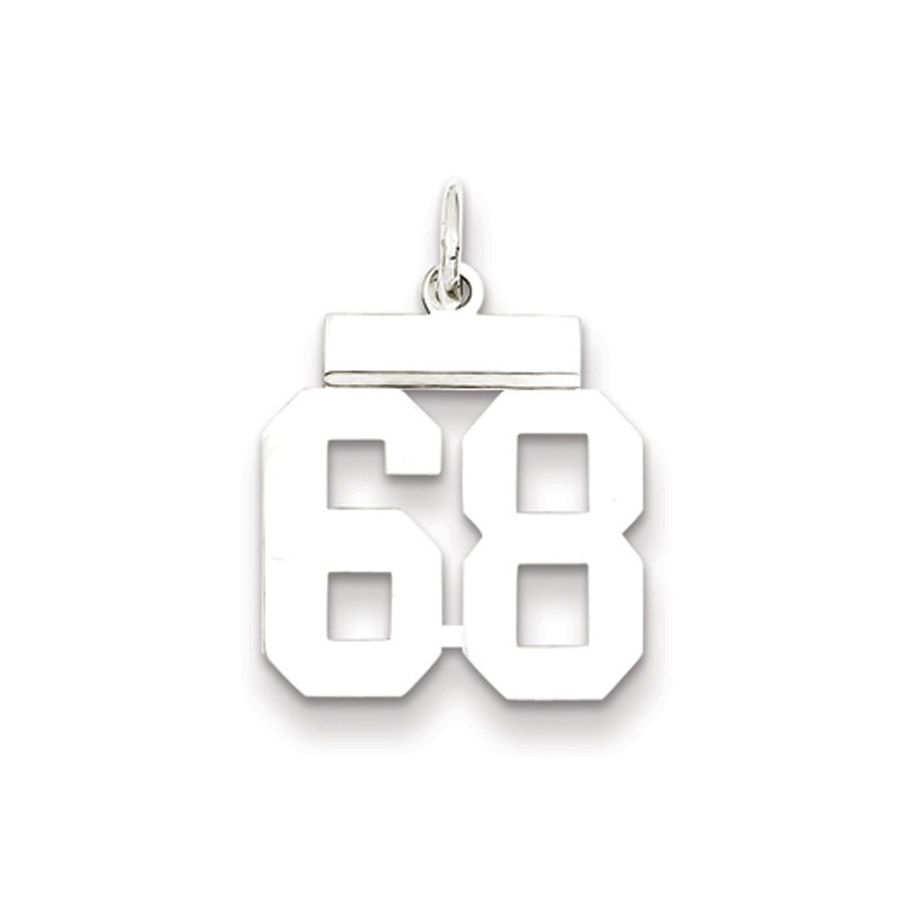 Small Polished Number 68 Pendant Athletic Collection Rhodium Plated Sterling Silver