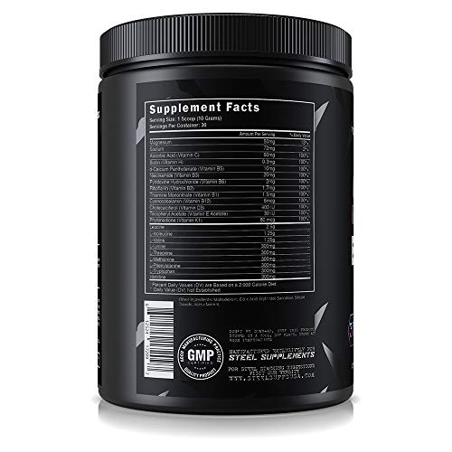 Steel Supplements BCAA EAA Powder High Performance Promotes Lean Muscle Growth 1lb Cotton Candy
