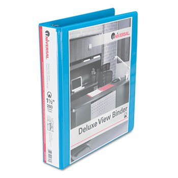 Universal 20723 Deluxe Round Ring View Binder, 1-1/2
