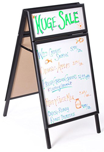 "Menu Board 23-3/4"" w x 45""h x 30""d Black Polished Aluminum Snap Frame Sidewalk Sign Has 21-1/2""w x 27-1/2""h Whiteboard and 21-1/2""w x 8""h Header – Sandwich Board Is Double Sided by Displays2go"