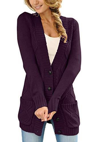 Acrylic Chenille Sweater - GOSOPIN Women Warm Button Down Cardigans Sweater Coats with Pocket Small Purple
