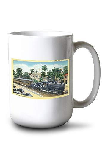 Lantern Press Cristobal, Panama - Train Passing Through The Canal Zone (15oz White Ceramic Mug)