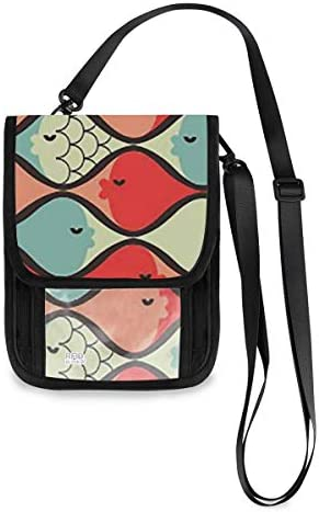 トラベルウォレット ミニ ネックポーチトラベルポーチ ポータブル チェック柄 魚 小さな財布 斜めのパッケージ 首ひも調節可能 ネックポーチ スキミング防止 男女兼用 トラベルポーチ カードケース