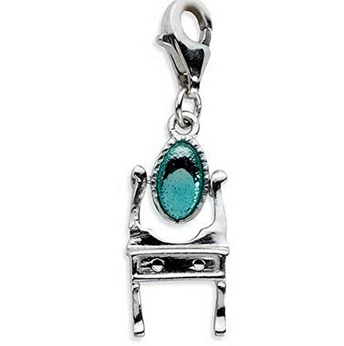 Sterling Silver Enamel Vanity with Lobster Clasp Charm (0.7in x 0.4in) Vintage Crafting Pendant Jewelry Making Supplies - DIY for Necklace Bracelet Accessories by CharmingSS