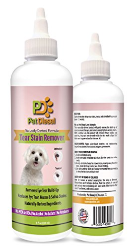 Dog Eye Tear Stain Build Up Remover Antifungal Coconut & Palm Oils Reduces Saliva & Mucus Discharge Stains - Natural & Effective Solution For Maltese, Chihuahua, Poodle & More by Pet Diesel