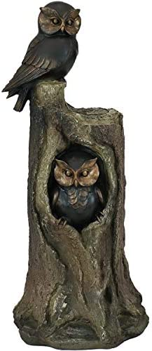 Sunnydaze Owl Duo on Tree Stump Polyresin Outdoor Garden Statue