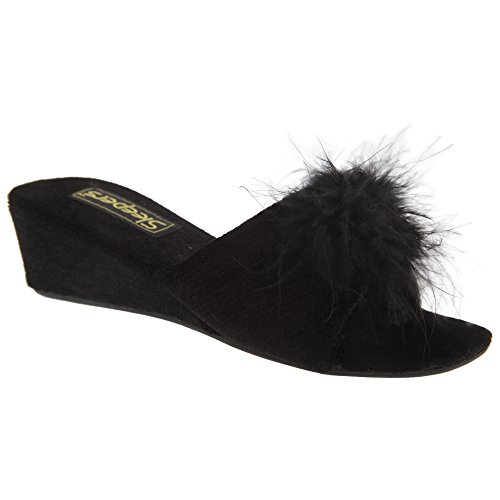 [Sleepers Womens/Ladies Anne Jewelled Rosette Boa Mule Slippers (7 US) (Black)] (Jewelled Rosette)