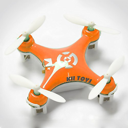 "KiiToys® Quadcopter Drone RC Helicopter Quad Copter Toy – Micro Mini Nano Size – 3D Flip Air Light Show – 6 Axis Gyro – 4 Channels Radio Control – 2.4 ghz 100 ft range – ""Smallest QuadCopter in the world"" with KiiToys Warranty + Tech Support (ORANGE)"