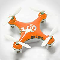 KiiToys® Quadcopter Drone RC Helicopter Quad Copter Toy - Micro Mini Nano Size - 3D Flip Air Light Show - 6 Axis Gyro - 4 Channels Radio Control - 2.4 ghz 100 ft range - Smallest QuadCopter in the world with KiiToys Warranty + Tech Support (ORANGE)