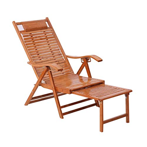 Bamboo Recliner - SACKDERTY Bamboo Recliner Chairs Foldable Zero Gravity Chair Retractable Pedal Sun Lounger 5 Gear Adjustment Relaxer Steamer Chair