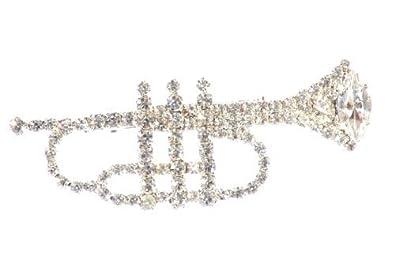 Amazon com: Silver Swarovski Crystal Trumpet Brooch