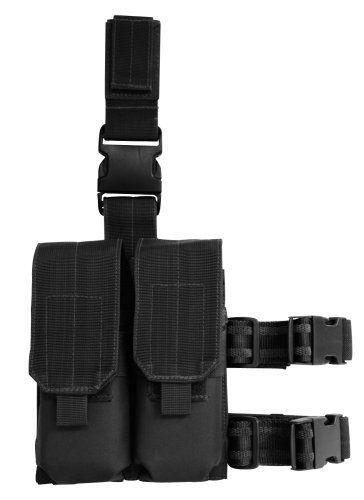 VooDoo Tactical 20-9308001000 Drop Leg Platform With Attached M4/M16 Double Mag Pouch, Black ()