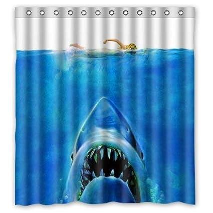 Amazon SPXUBZ Big White Shark Underwater Movie Poster Shower