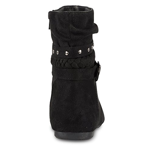 High Leather Black Faux Boot Straps Multi Slouchy SHELLY Women's Buckle with Twisted Suede Ankle XgaRBq