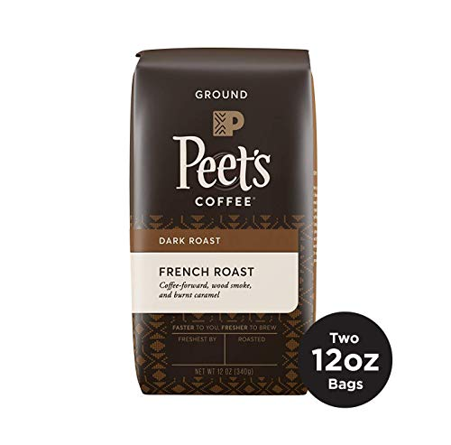 Peet's Coffee Ground Dark Roast Coffee, French Roast, 12 Ounce Bags (Pack of 2) Bold, Intense, & Complex Dark Roast Blend of Latin American Coffees, with A Smoky Flavor and Pleasant Bite