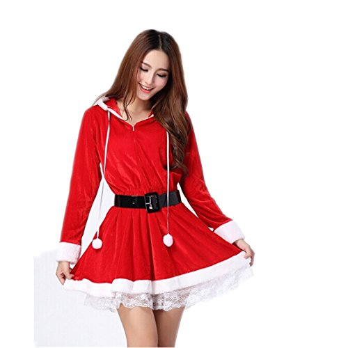 [Partiss Women Christmas Red Santa Claus Outfit Dress Small Red] (Elf Outfit For Women)