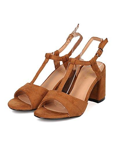 Alrisco Women Faux Suede Block Heel Sandal - T-Strap Sandal - Open Toe Chunky Heel - GI41 by Camel Faux Suede sPLClS